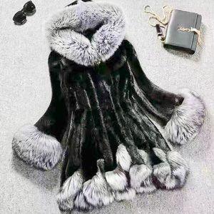 Jackets & Blazers - Plus size faux fur 3/4 length coat w/ hood